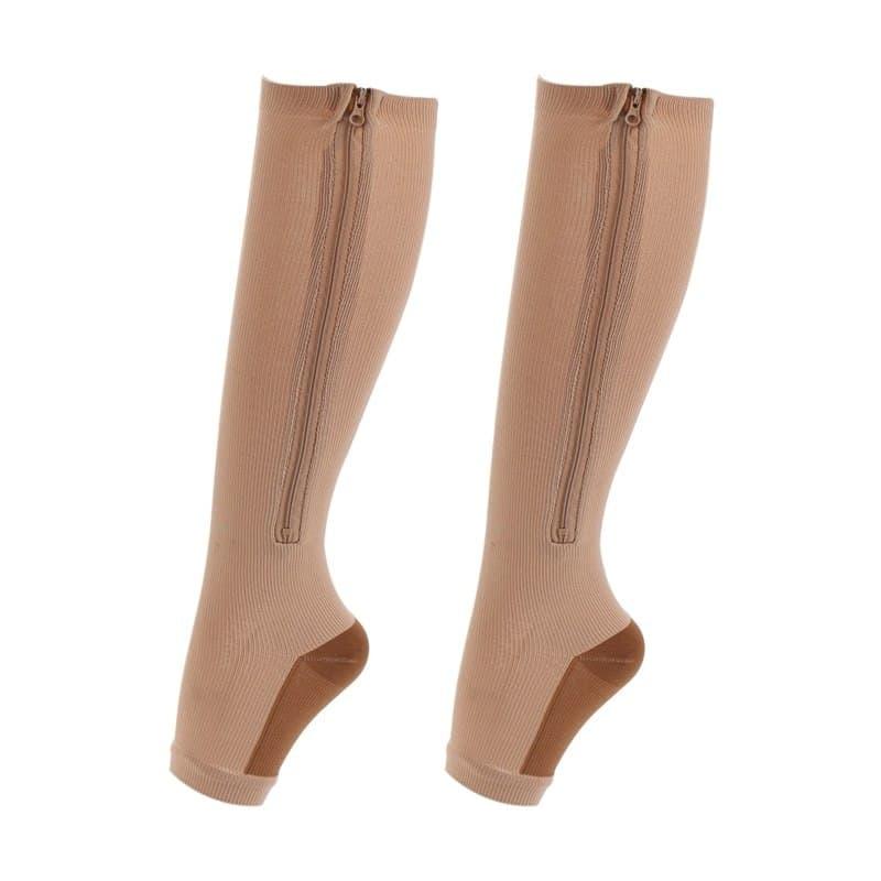 Fitness Zipper Compression Socks Zip Circulation Pressure Leg Support Knee Sox Reduce Pain