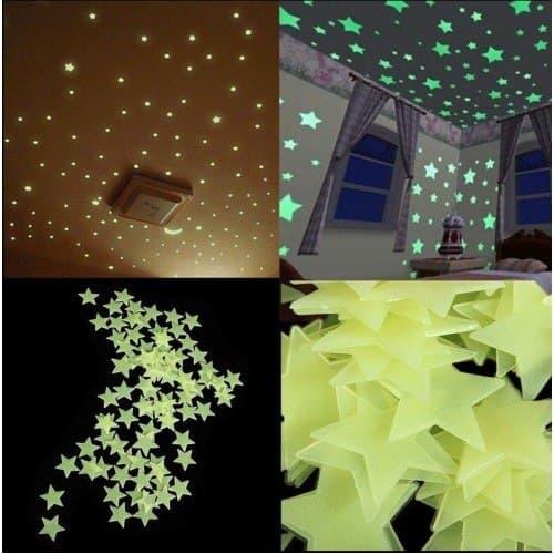 100 Pcs Glow In The Dark Stars Wall Stickers