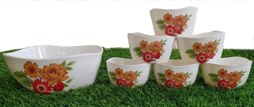 Set Of Seven Pieces Crockey Custard Bowls Set Home Kitchen Glazed Melamine High Quality