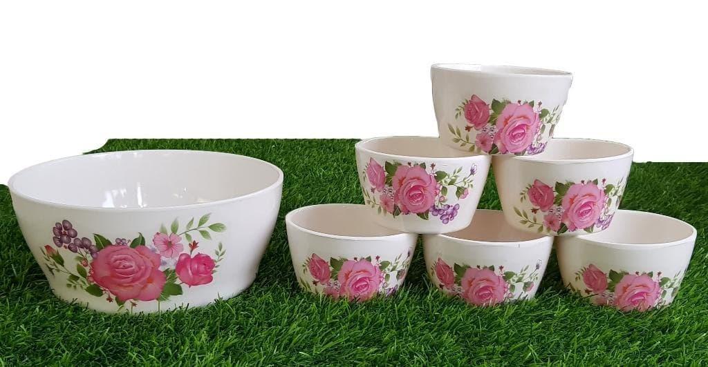 Set Of Seven Pieces Crockey Custard Bowls Set Home Kitchen Glazed Melamine