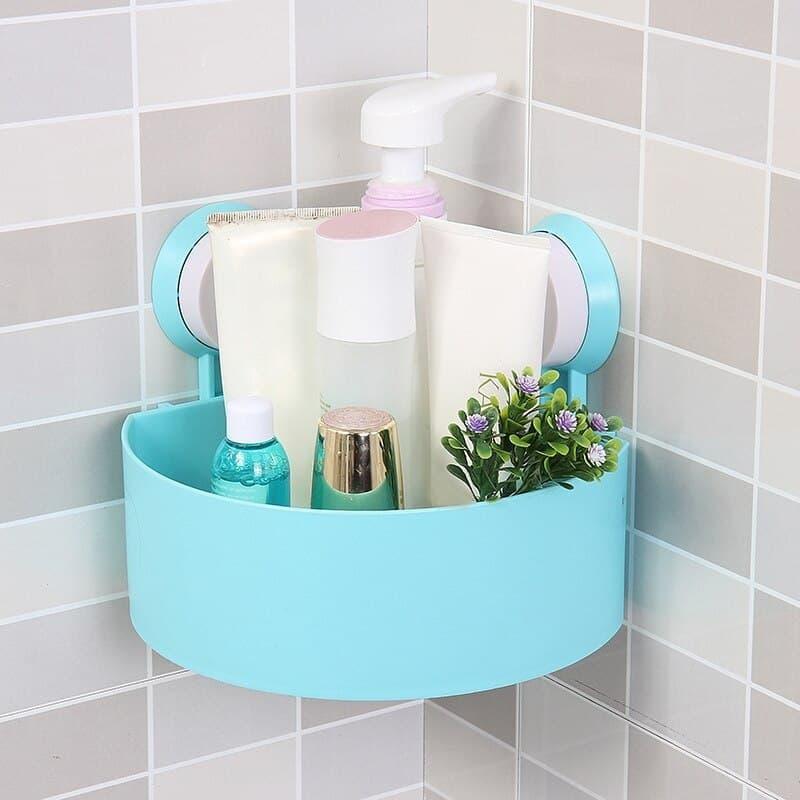 Storage Kitchen Corner Organizer Bathroom Shower Wall Shelf With Suction Cups