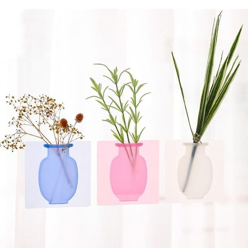Sticky Vase Wall Mounted Plant Holder Decorative Flower Display Vase Wall Decor