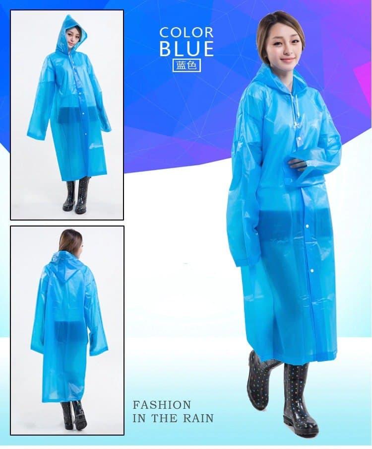 Unisex EVA Raincoat Waterproof Rain Poncho Coat Adult Clear Transparent Hoodie Rainwear Suit