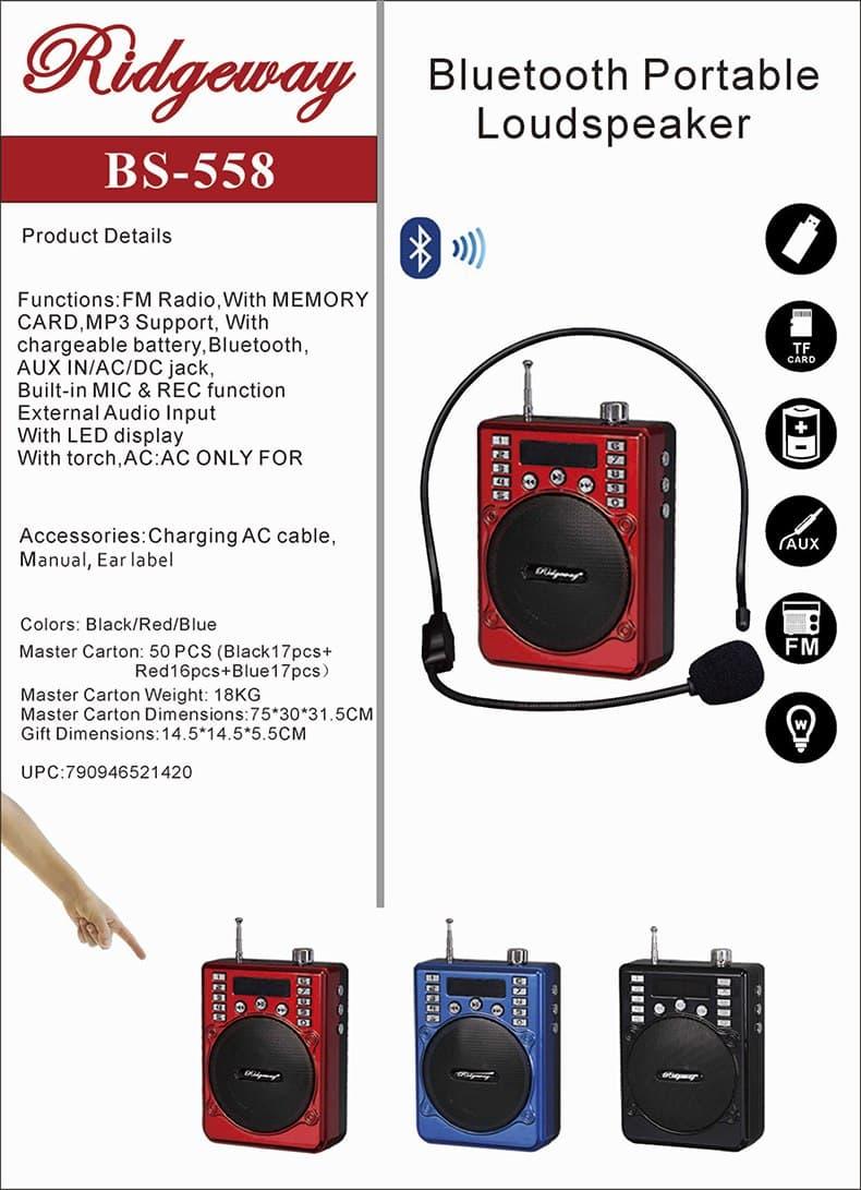 Ridgeway SPE-558A Bluetooth FM Portable Radio Speaker Rechargeable USB SD AUX