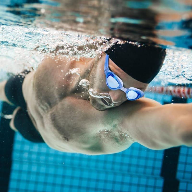 Adjustable Waterproof Silicone Anti Fog UV Shield Swimming Glasses Eyewear With Box Eartips