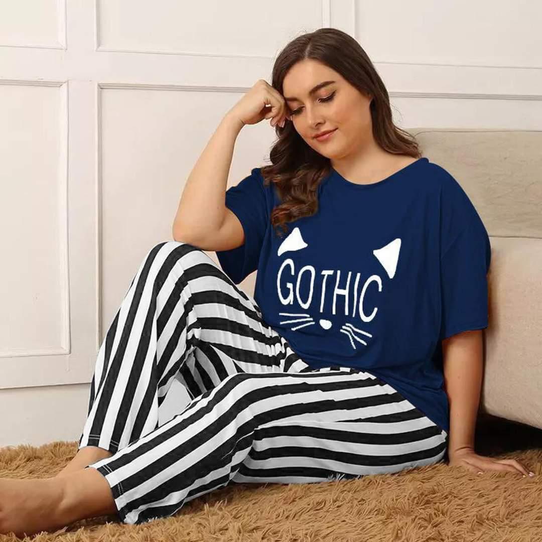 Women Pajama & Shirt Set Printed Nightwear 2PCS Short Sleeve Loungewear