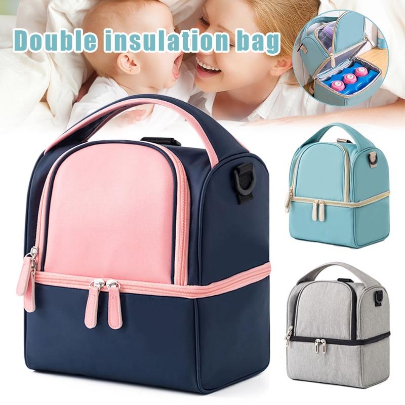 Double Layer Cooler Bag Mother Milk Preservation Picnic Camping Food Carrier Bag