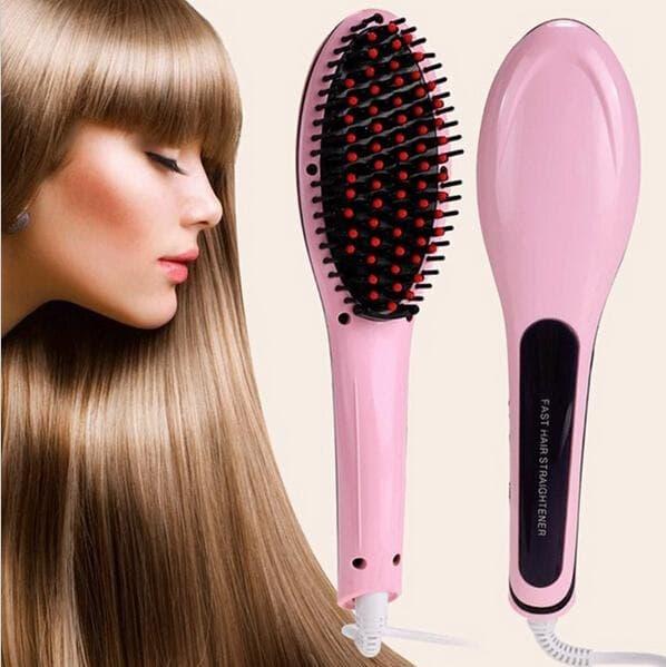 LCD Straightening Fast Smoothing Electric Hair Straightener Brush Ceramic Heating Temperature