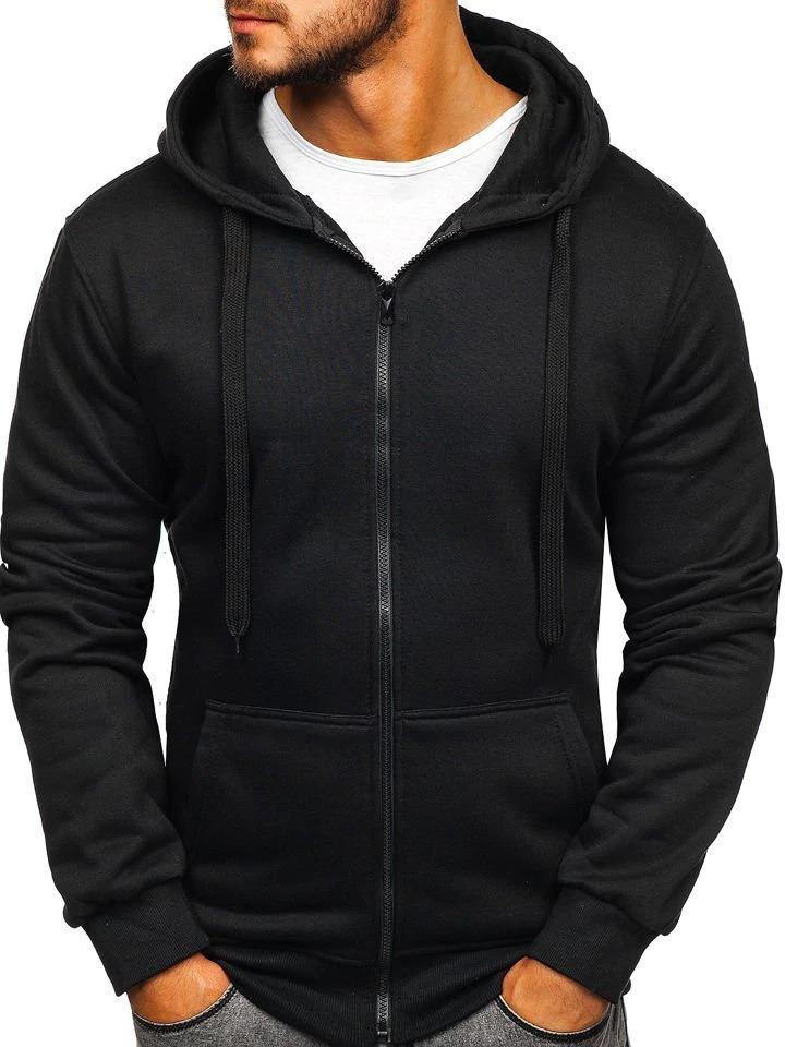 Men's Casual Zipper Hoodies Sweatshirts Male Black Green Solid Color Hooded Outerwear Tops