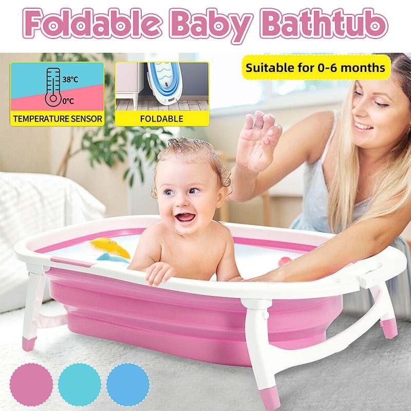 Foldable Baby Bathtub Temperature Sensing Infant Bath Tub Widen Thicken Shower Tub
