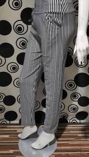 Women Black & White Thin Vertical Striped Leggings Trousers
