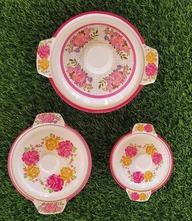 Set Of 3 Pieces Crockery Bowls Set Home Kitchen Glazed Melamine High Quality